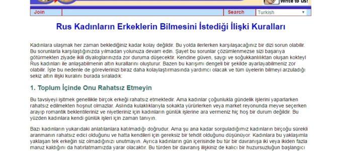Копирайтинг на турецком о правилах знакомства с русскими девушками