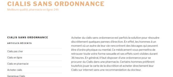 Медицинский копирайтинг на французском: Сialis sans ordonnance