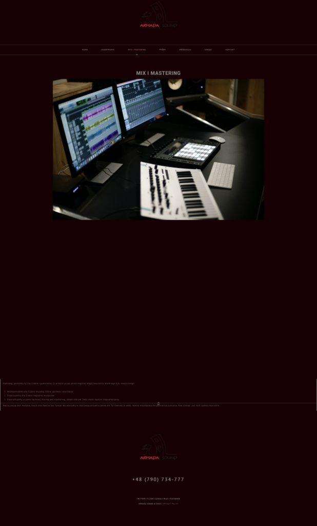Текст на польском для страницы о сведении и мастеринге в студии Armada sound