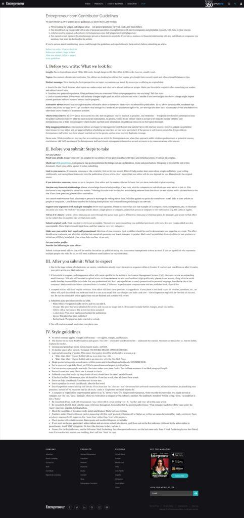 Требования к публикуемому контенту у издания Entrepreneur