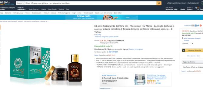 Копирайтинг на итальянском для Amazon: анти-акне косметика от Yofing