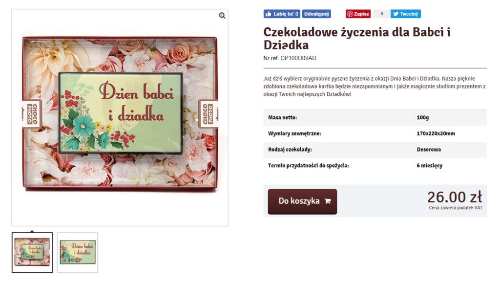 Шоколадный подарок - текст на польском