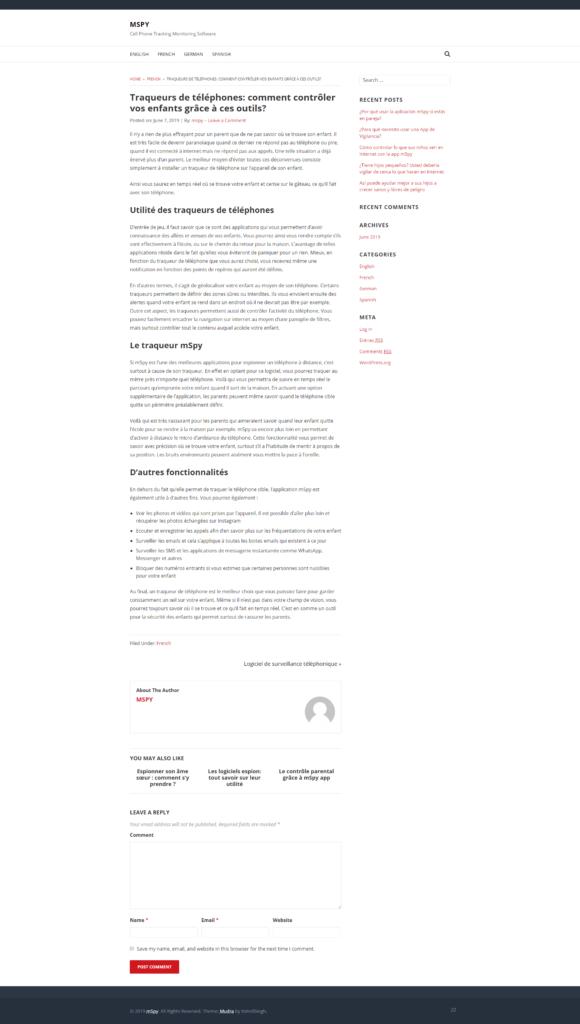 Копирайтинг на французском: трекер для смартфонов mSpy