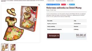 """Описание шоколадного изделия на польском. Сюжет """"платье и шляпка""""."""
