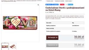 Описание продукта на польском. Буквы LOVE