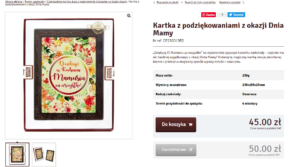 SEO-описание продукта на польском. Поздравительная открытка.
