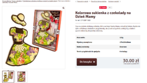 Описание шоколадного изделия на польском. Платье и шляпка.