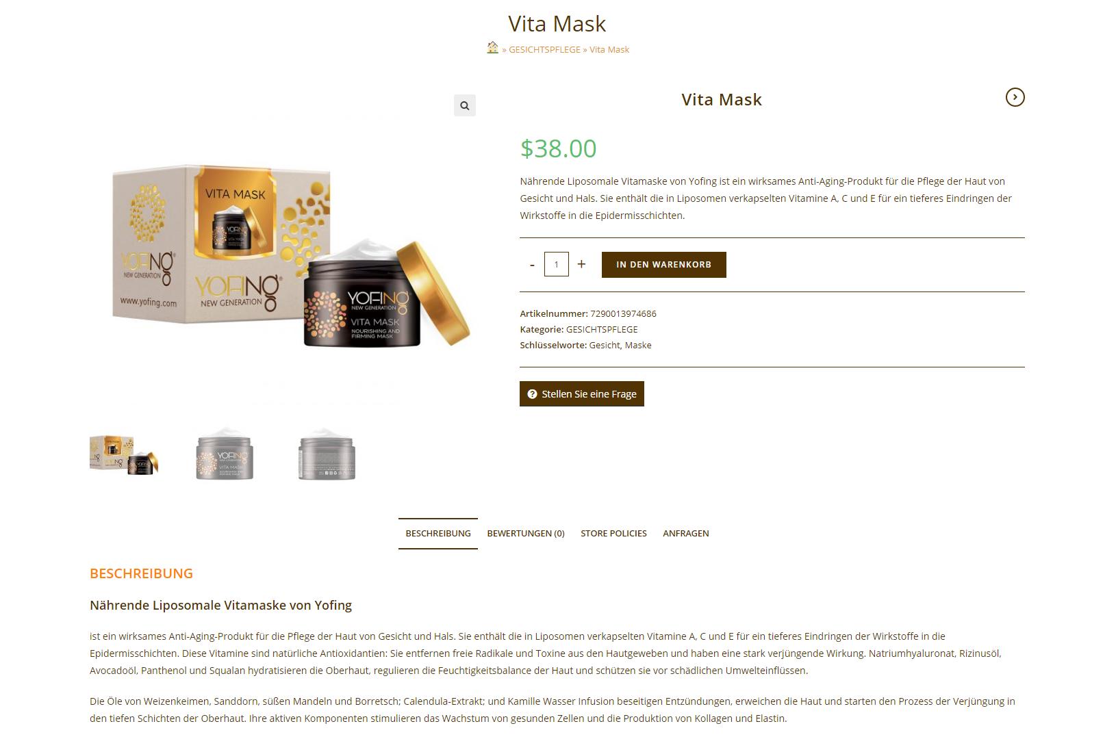 Мультиязычный контент для бренда Yofing: описание продукта Vita Mask