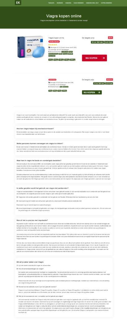 Медицинский копирайтинг на голландском о Виагре