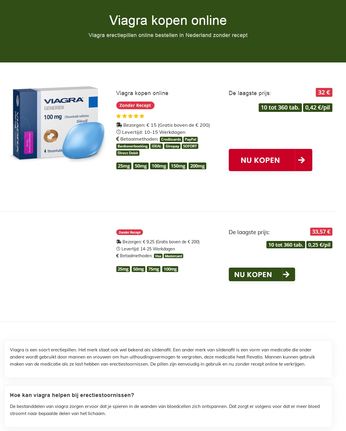 Медицинский копирайтинг на голландском: Viagra kopen online