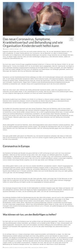 Копирайтинг на немецком: текст о Covid 19 в Европе