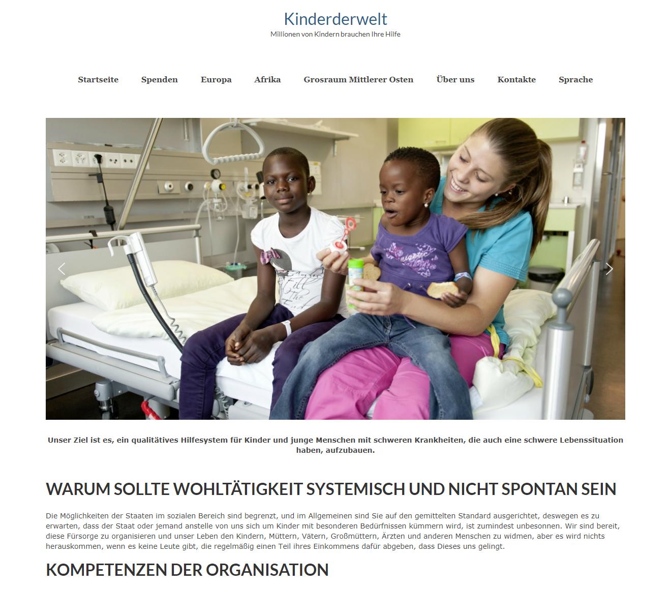 Kinderderwelt – сайт на WordPress для благотворительной организации