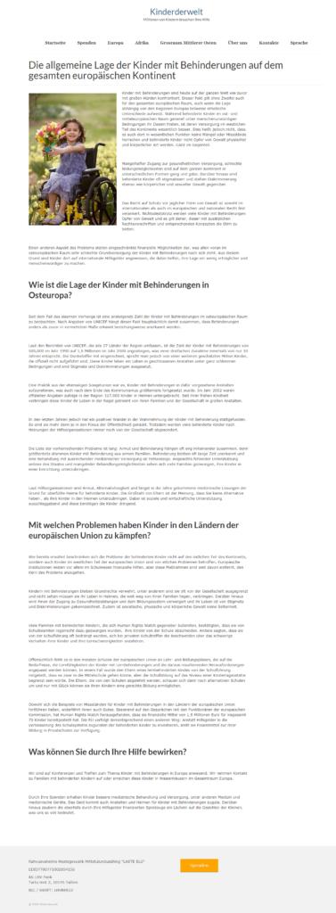 Страница второго уровня сайта Kinderderwelt