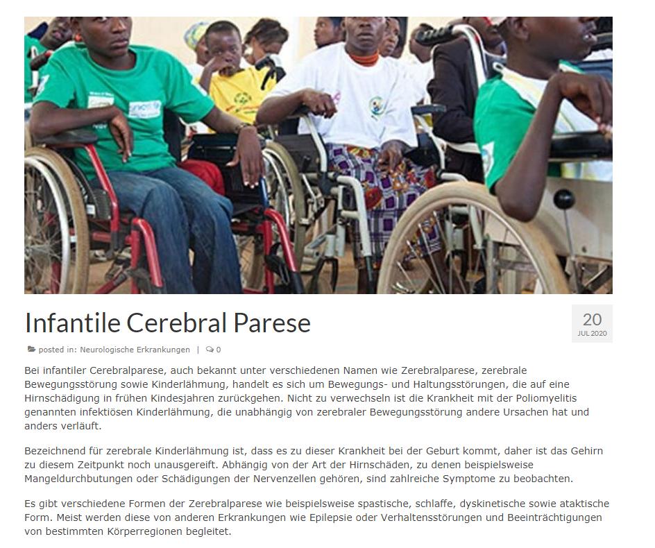 Медицинский копирайтинг на немецком: помощь больным детским церебральным параличом