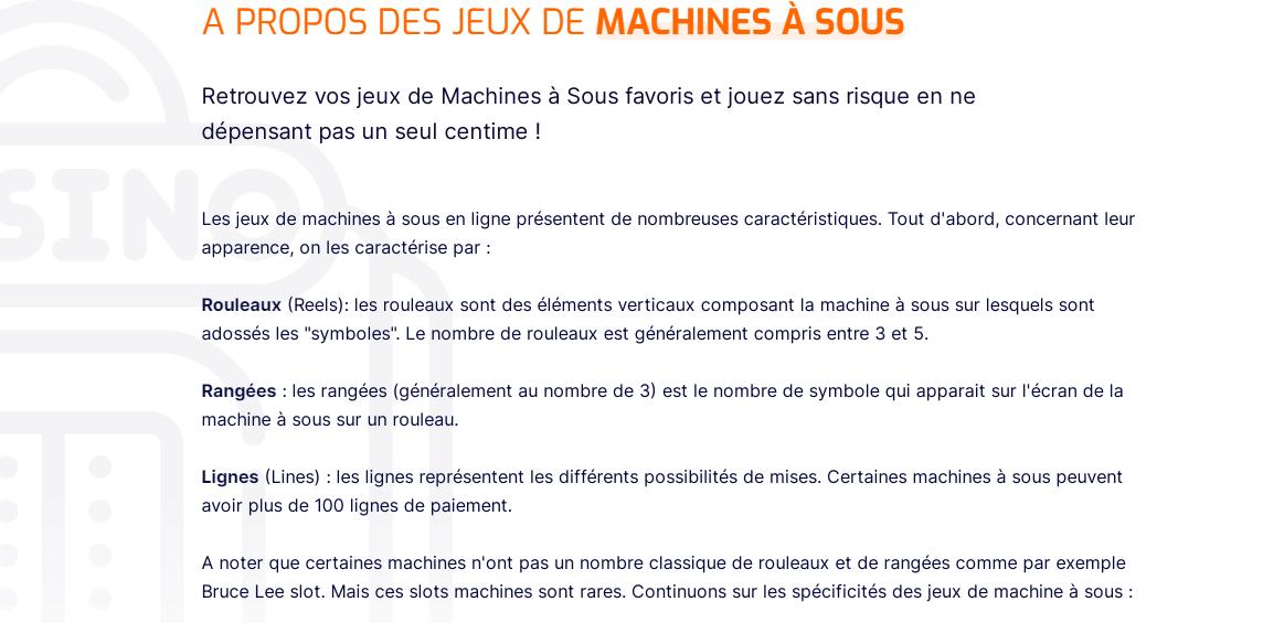Копирайтинг на французском: описание категории для онлайн-казино